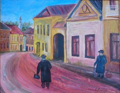 """J. Comik. """"Senasis Vilnius"""", kartonas, aliejus, 40 x 50, 2017 m."""