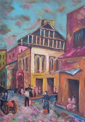 """M. Selezniov, """"Didžioji Sinagoga"""", aliejus, drobė, 70 x 50, 2017 m."""