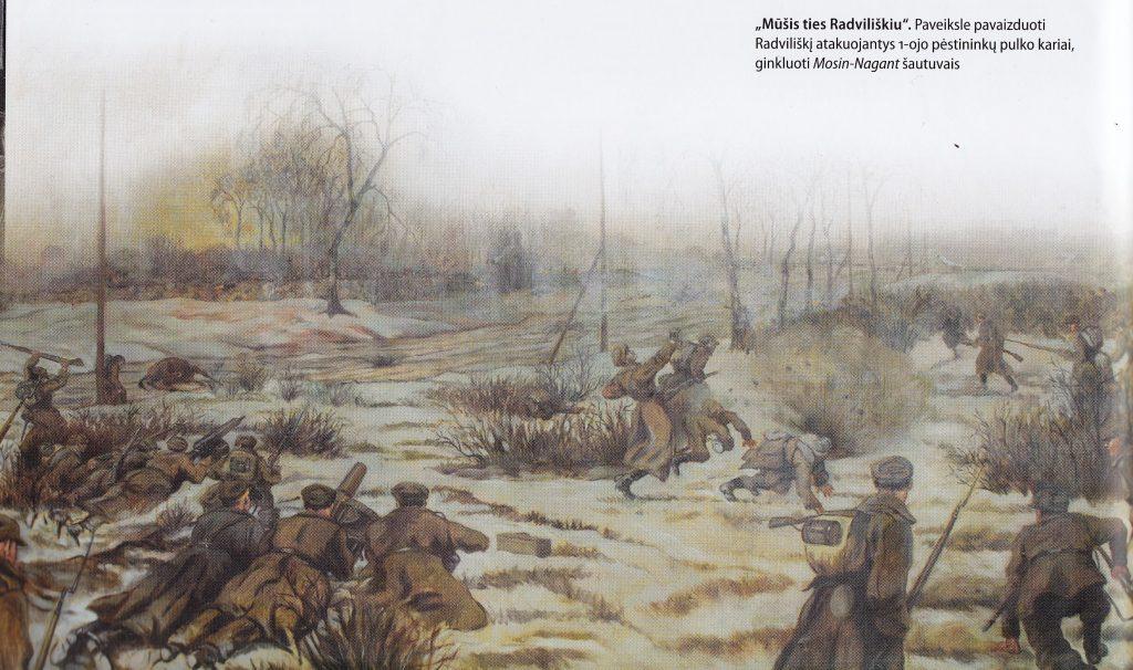 """""""Mūšis ties Radviliškiu 1919 m. gruodžio 22 d."""" Dailininkas Emilis Jeneris, XX a. 3-asis dešimtmetis. Saugoma Vytauto Didžiojo karo muziejuje."""