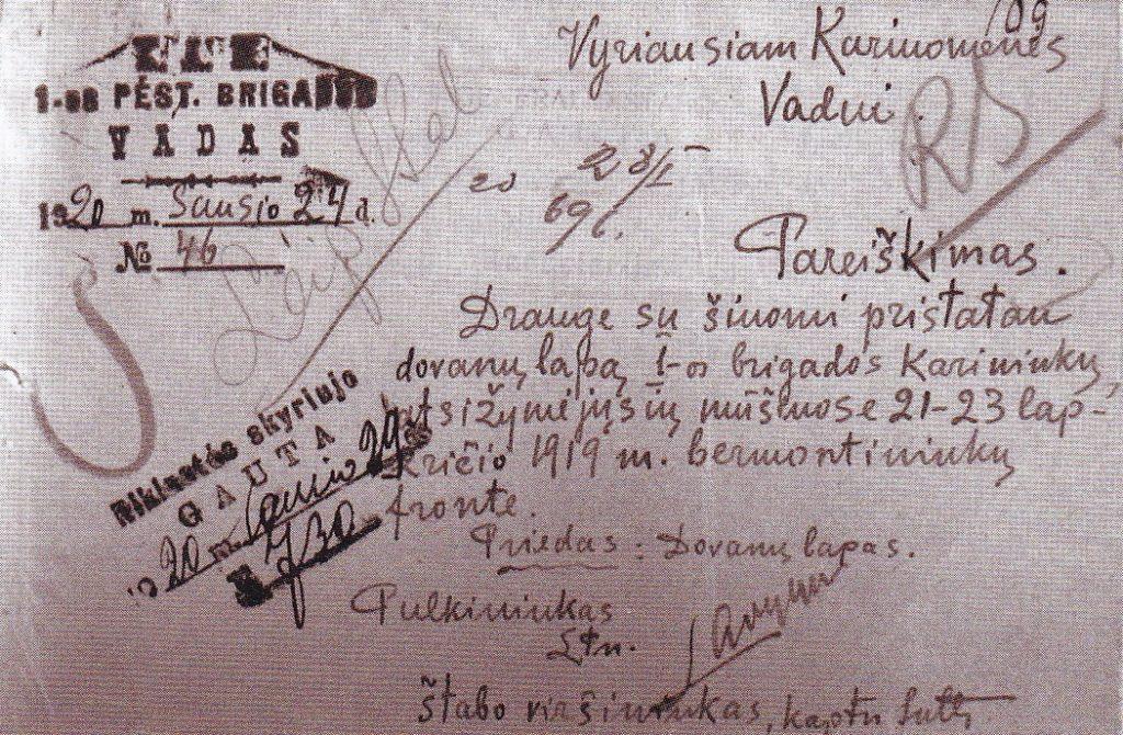 1-osios pėstininkų brigados vado K. Ladigos pristatymas apdovanoti mūšiuose prieš bermontininkus pasižymėjusius karininkus. 1920 m. sausio 24 d. LCVA.