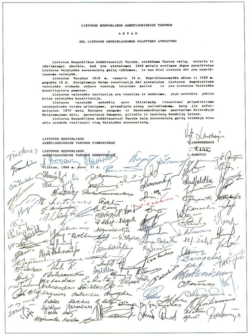 Kovo 11 Akto tekstas su Aukščiausiosios Tarybos–Atkuriamojo Seimo deputatų parašais