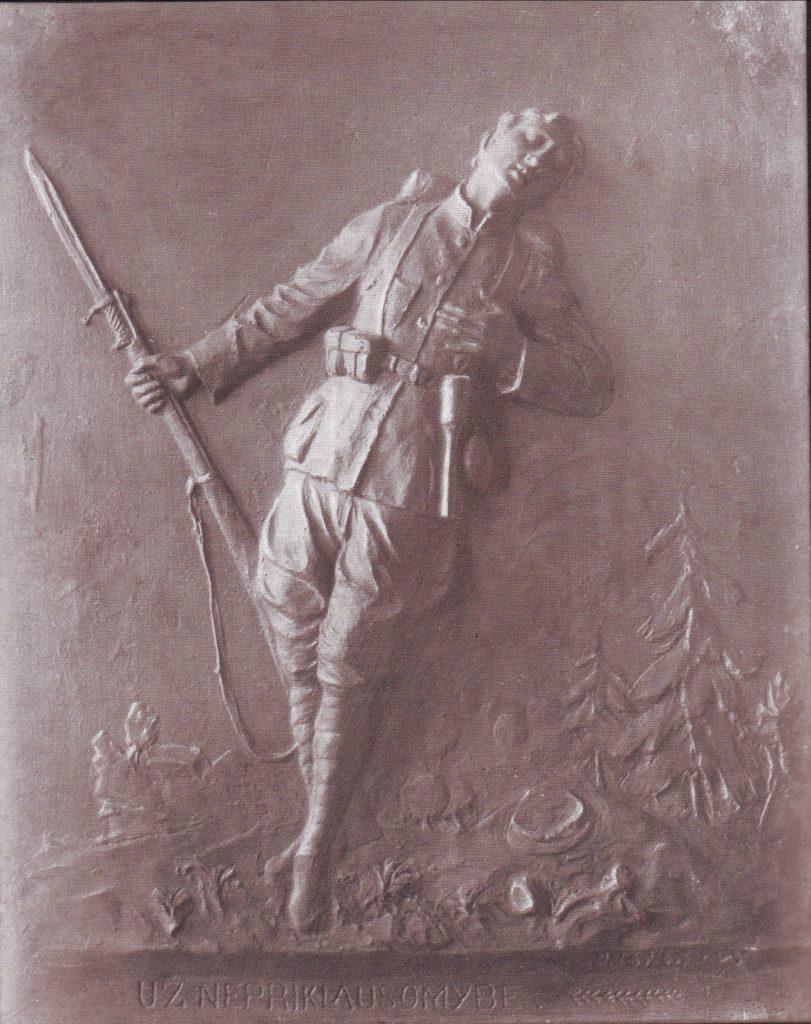 """Juozo Zikaro bareljefas  Už nepriklausomybę"""". Apie 1922 metus. Iš dviejų Vyties Kryžiaus kavalieriaus Juozo Krušinsko šeimos archyvo."""