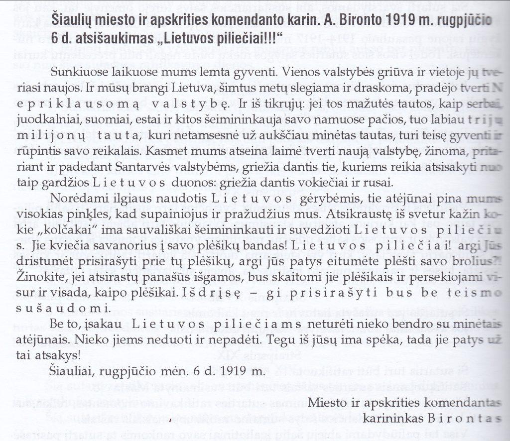 1919 m. rugpjūčio 6 d.  Šiaulių miesto  ir  apskrities komendanto atsišaukimas